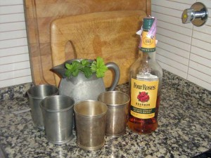 A pitcher of mint juleps, ready to serve