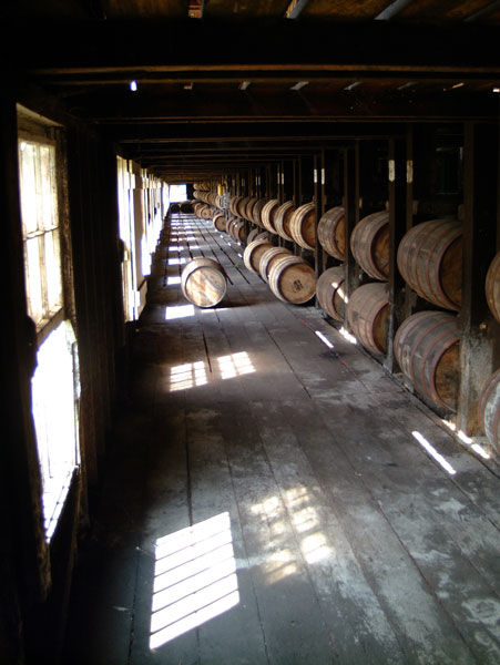 Bourbon warehouse and barrels