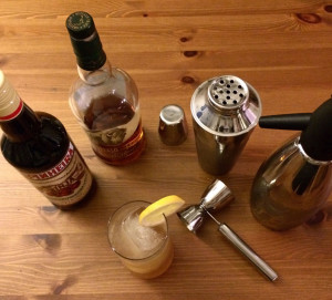 Bourbon and Ginja cocktail