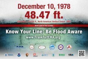Frankfort flood sign